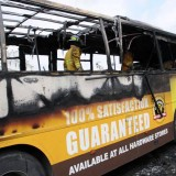 JUTC bus destroyed by fire