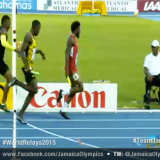 Javon Francis Bullet Finish 44.01 split from 5th to 2nd 4x400m World Relays 2015